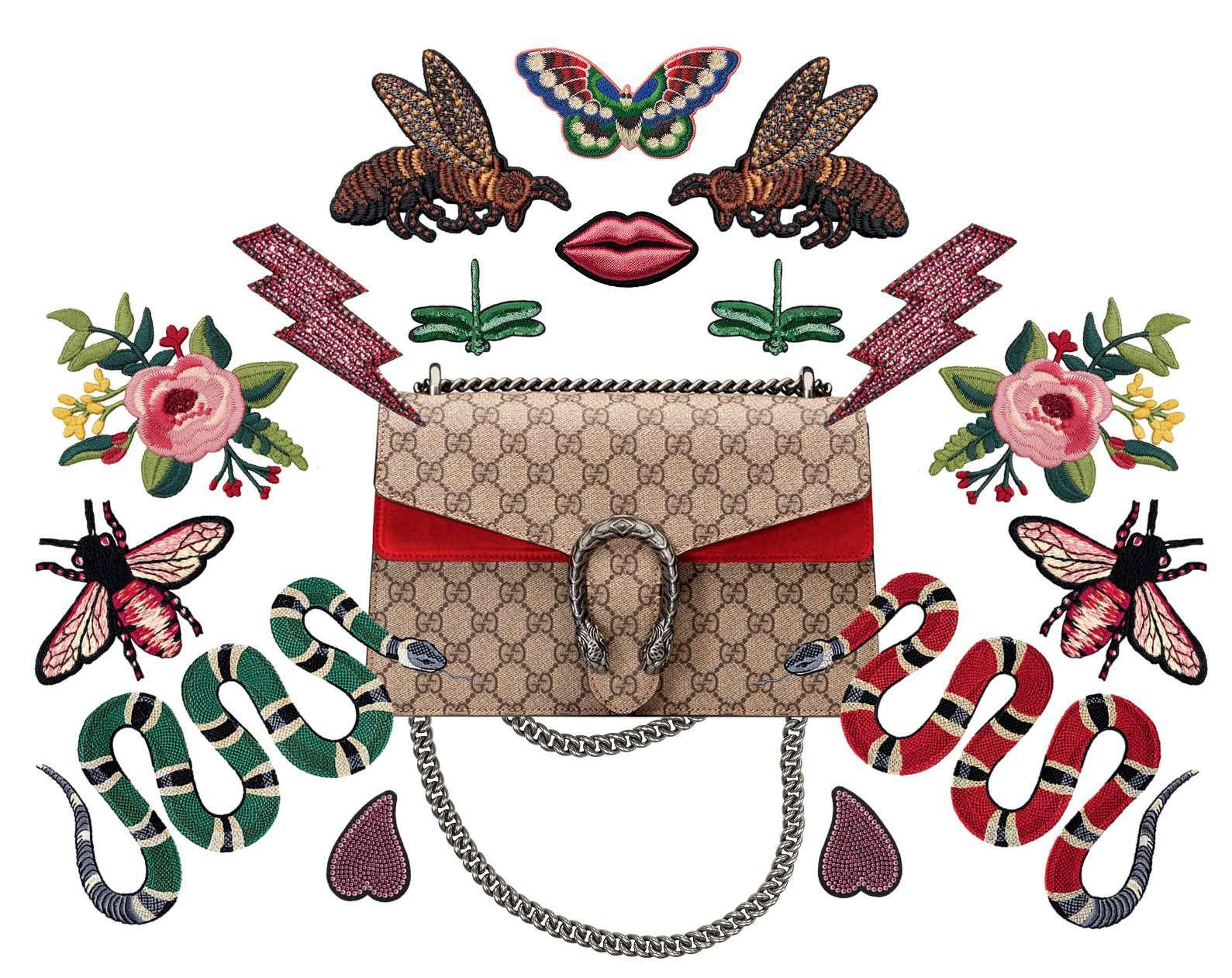 Gucci - O serviço de DIY da grife, lançado em junho em Milão, oferece uma ampla variedade de tecidos,  patches e botões que podem customizar de  jaquetas a acessórios, como a bolsa Dionysus (Foto: Divulgação)