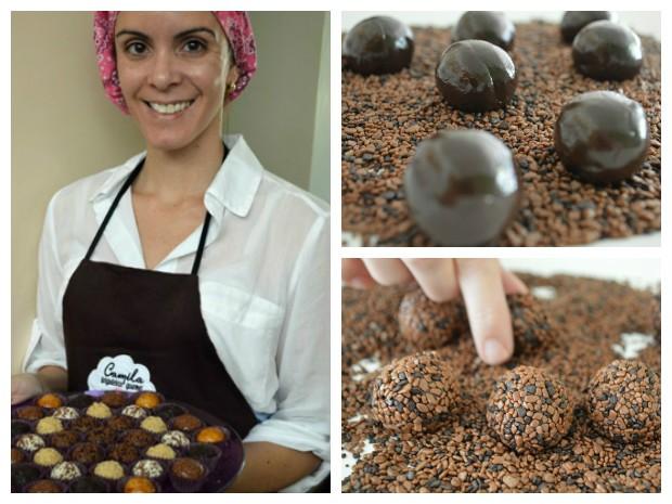 Camila Viana segura bandeja de brigadeiros gourmet; etapas da preparação da versão 'panetone' do doce (Foto: Camila Viana/Divulgação)