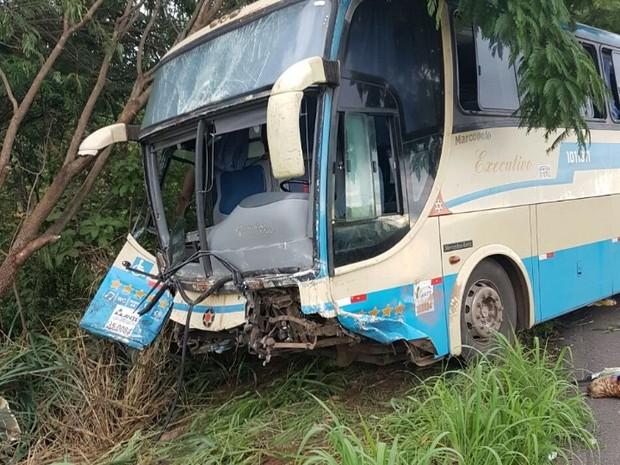Acidente entre ônibus e carro deixa 4 pessoas mortas na BR-020, em Goiás (Foto: Divulgação/PRF)