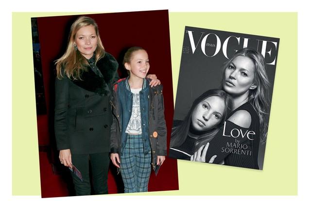Lila Grace e Kate em premiére em Londres e, à direita, na capa da Vogue italiana de junho de 2016 (Foto: Gettyimages, Reprodução Instagram e Divulgação)