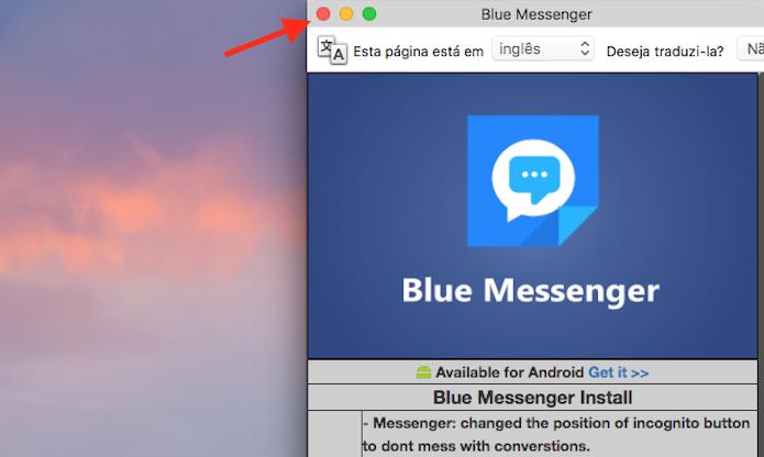 Opção para acessar a página inicial do Facebook na extensão Blue Messenger para Google Chrome (Foto: Reprodução/Marvin Costa)
