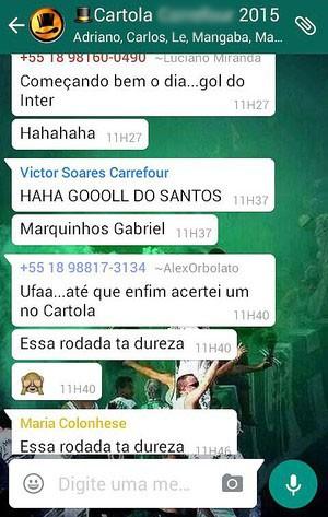 No grupo do whatsapp, sempre rola uma resenha durante os jogos do Brasileirão (Foto: Reprodução)