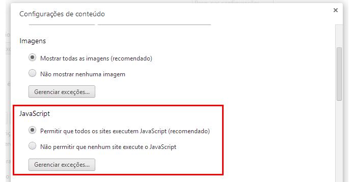 Certifique-se que o Javascript está habilitado (Foto: Reprodução/Paulo Alves)