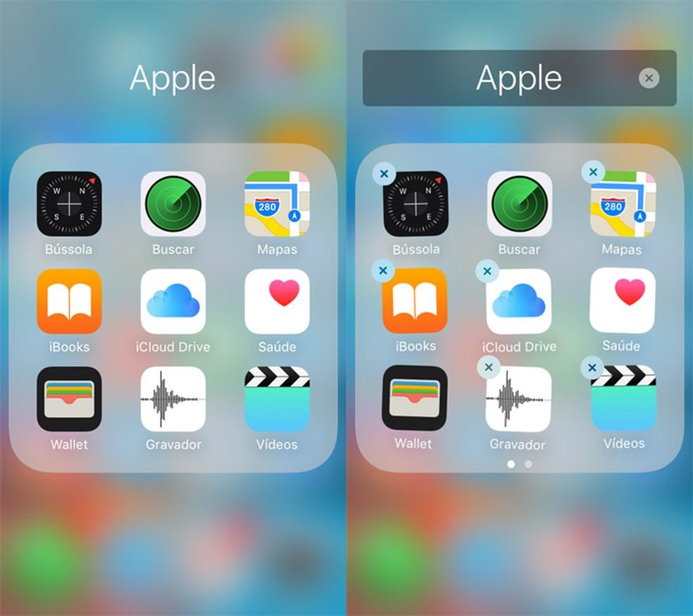 iOS permite apagar a maioria dos apps nativos (Foto: Reprodução/Pedro Cardoso)