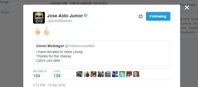 José Aldo tweet Conor McGregor
