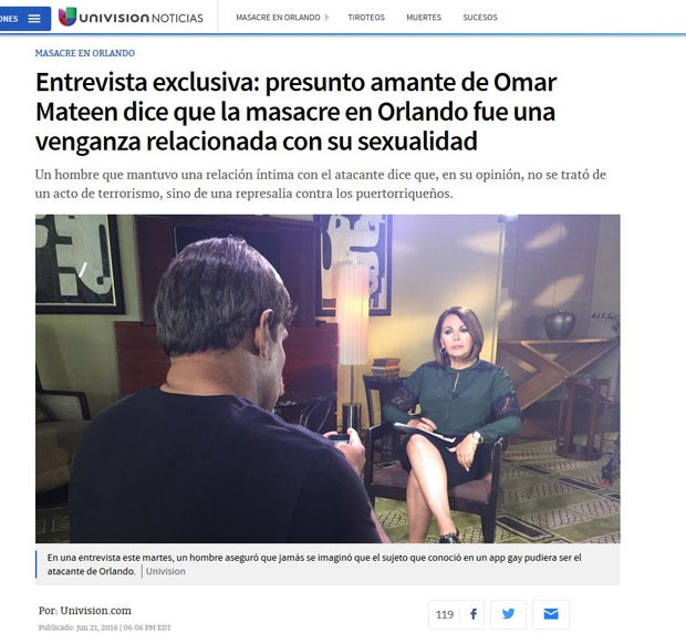Entrevistado disse ao canal Univisón que foi amante de Omar Mateen (Foto: Reprodução/Univision.com)