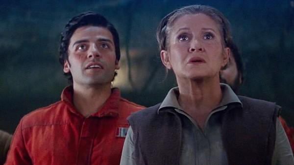 Oscar Isaac e Carrie Fisher em cena de Star Wars (Foto: Reprodução)
