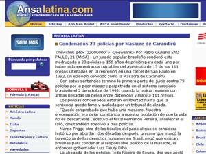 Agência de notícias italiana ANSA noticia a condenação de PMs no caso Carandiru (Foto: Reprodução)