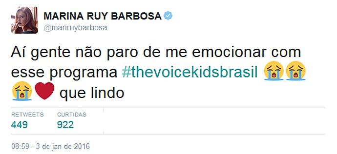 A atroz Marina Ruy Barbosa foi uma das que se emocionou (Foto: Reprodução)