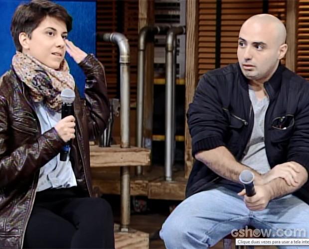 Mikhaila Copello e Angelo Castilho (Foto: TV Globo / Na Moral)