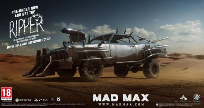 Mad Max será lançado dia 4 de setembro, e pré-venda dará carcaça The Ripper (Foto: Divulgação)