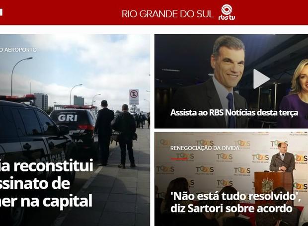 Interface do G1 RS faclita o acesso às principais notícias e transmissões ao vivo  (Foto: Reprodução/G1RS)