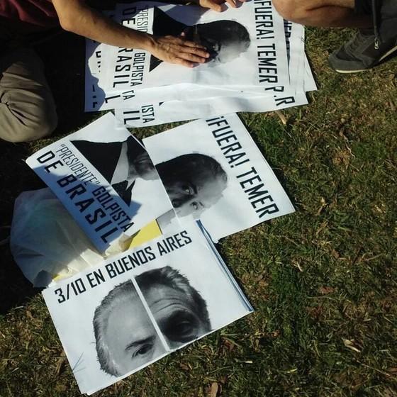 Protesto contra Temer na Argentina (Foto: Reprodução)