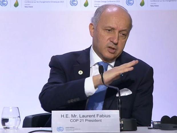 Ministro francês Laurent Fabius afirmou que não foi 'grande surpresa' decisão do Senado americano de anular novas leis contra emissões de carbono (Foto: Rafael Garcia/ G1)