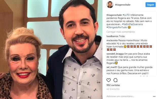 Thiago Rocha lamenta morte de Rogéria (Foto: Reprodução/Instagram)
