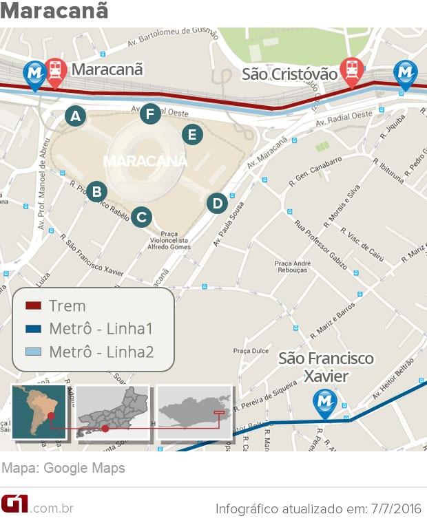 Mapa do Estádio do Maracanã (Foto: Arte G1)