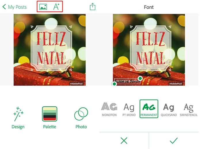 Adobe Post pode ter novo balões de textos adicionados e também fotografias (Foto: Reprodução/Elson de Souza)