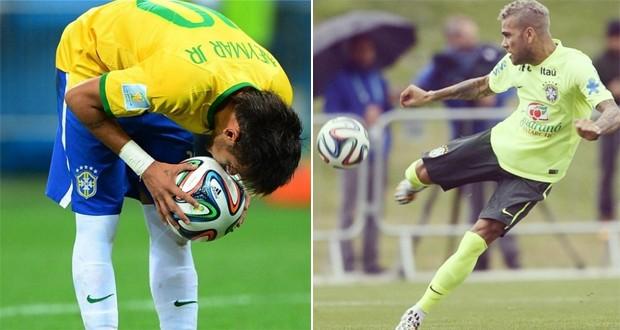 Neymar e Daniel Alves usando a