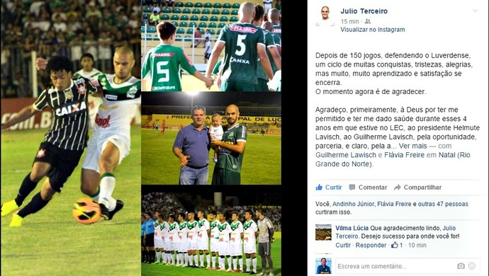 Julio Terceiro escreveu carta de despedida ao Luverdense (Foto: Reprodução)