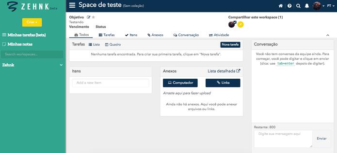 Interface do Zehnk (Foto: Reprodução/Felipe Vinha)