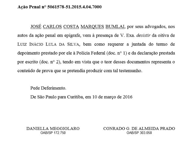 Bumlai desistiu da oitiva de Lula, marcada para segunda-feira (14) (Foto: Reprodução/Justiça Federal)