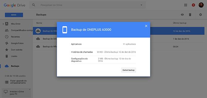 Usuário pode conferir detalhes de backup no Google Drive antes de excluir (Foto: Reprodução/Elson de Souza)