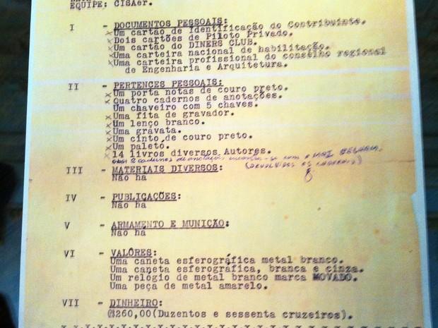 Documento comprova a prisão de ex-deputado federal Rubens Paiva (Foto: Felipe Truda/G1)