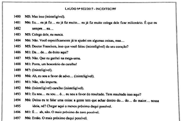 Segundo a transcrição da PF, M1 é o executivo da JBS Francisco de Assis; M5 é o advogado Willer Tomaz; M6 é o procurador Ângelo Goulart (Foto: Reprodução)