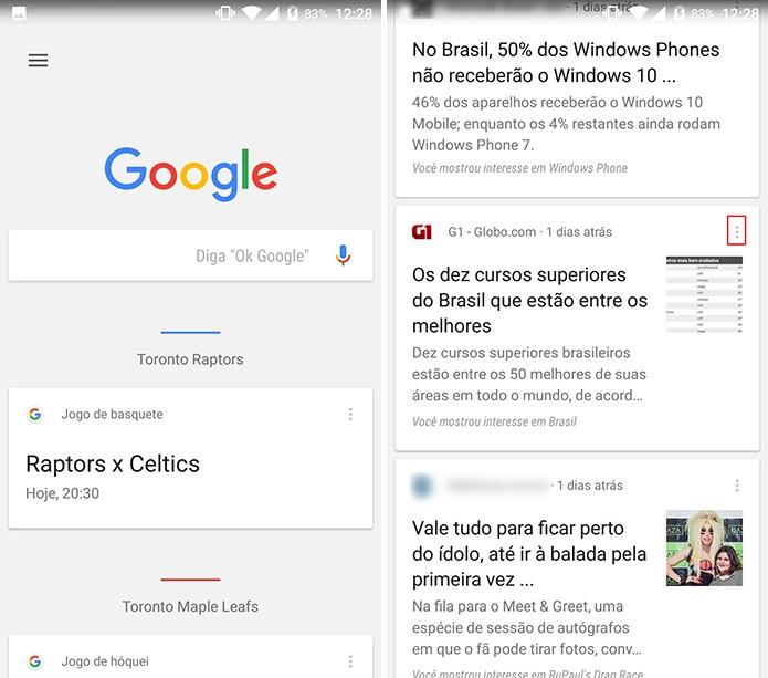 Google Now pode ter assunto ou site bloqueado nos cards (Foto: Reprodução/Elson de Souza)