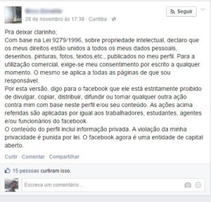 Mensagem que circula no Facebook em que usuário desautoriza rede social de utilizar seus dados; empresa diz que prática não tem efeito. (Foto: Reprodução/Facebook.com)