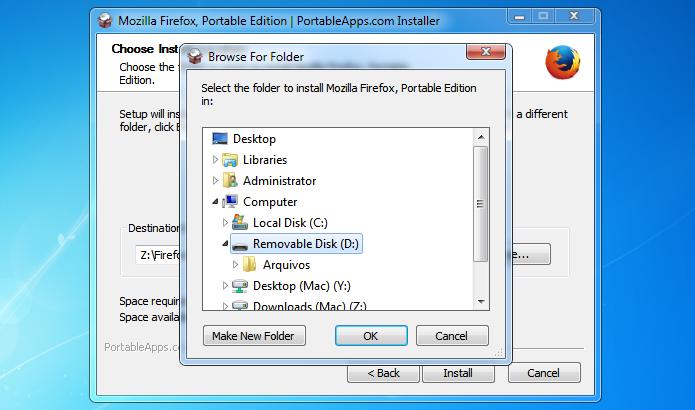 Selecione o pen drive em que você quer instalar o Firefox (Foto: Reprodução/Helito Bijora)