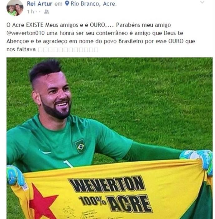 19b5b04e39 Homenagem do ex-joagador Artur Oliveira ao goleiro Weverton (Foto   Reprodução Facebook