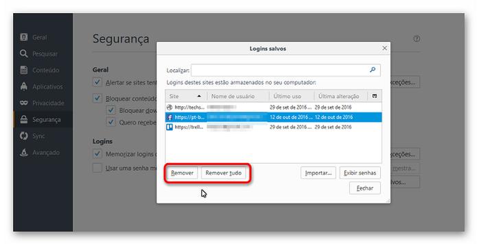 Apagando informações de login no Firefox (Foto: Reprodução/Helito Bijora)