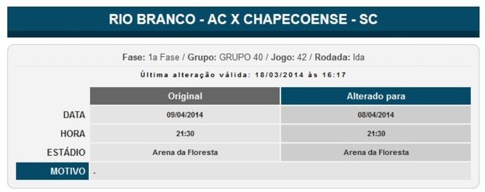 Rio Branco Chapecoense nova data (Foto: Reprodução site da CBF)
