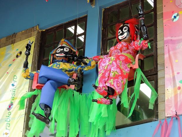 Mateus e Katirina também viraram bonecos da decoração (Foto: Katherine Coutinho / G1)