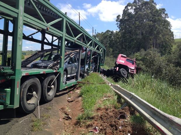 Homem dirigia um caminhão do tipo cegonha  (Foto: André Godinho/ TV Tem)