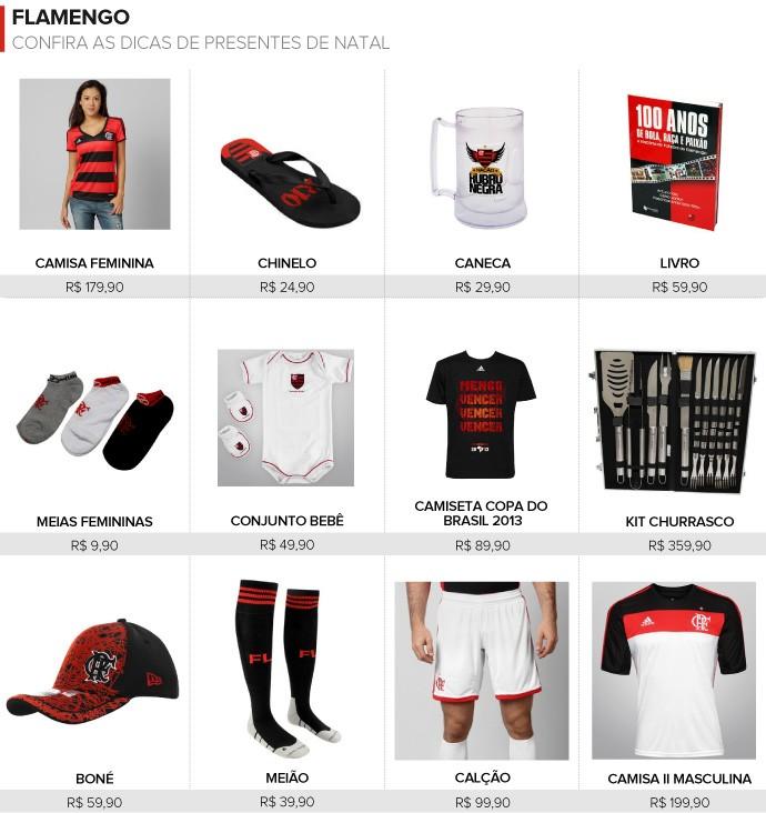 Presentes de Natal clubes Flamengo (Foto: Editoria de Arte)