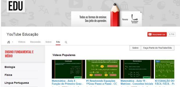 Página inicial do YouTube EDU (Foto: Reprodução)