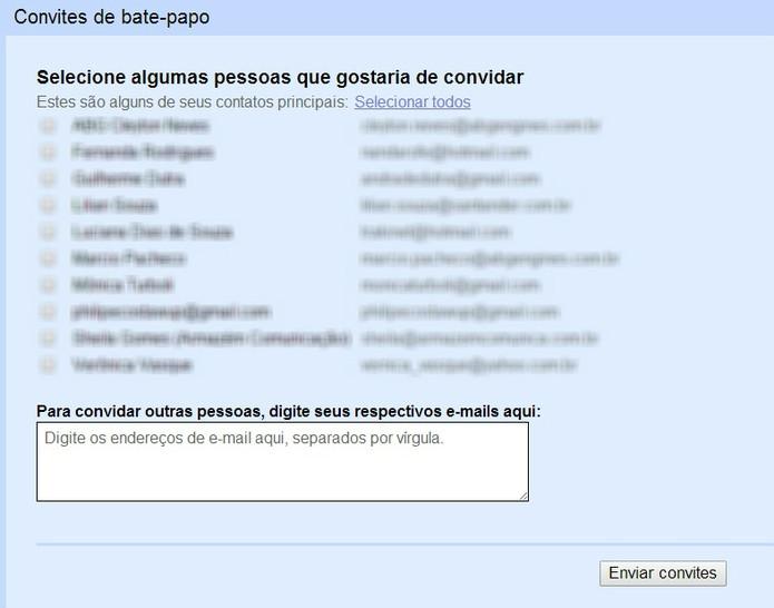 Envio de convite para lista de contato no Gmail (Foto: Reprodução/ Marcela Vaz)