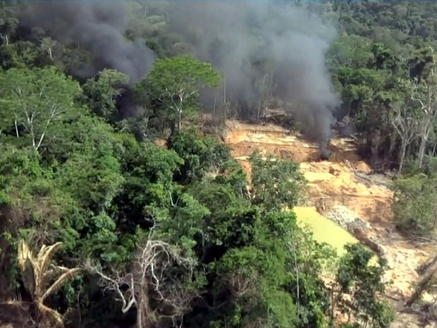 Ibama flagrou exploração de diamantes e madeira em terras indígenas em MT (Foto: Reprodução/TVCA)