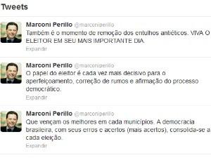 Governador Marconi Perillo faz regsitro de sua votação em Palmeiras de Goiás (Foto: Reprodução/Twitter)