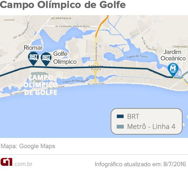 Mapa do Campo Olímpico de Golfe (Foto: Arte G1)