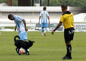 Djalma brinca com 'Lobo' antes da partida começar (Foto: Cláudio Pinheiro/O Liberal)