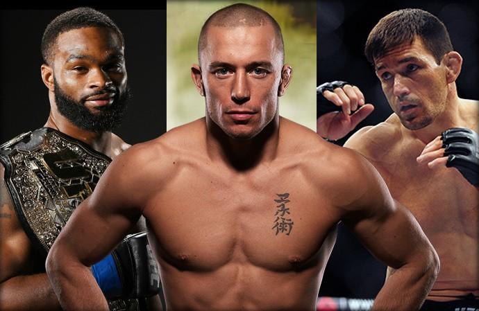 Montagem UFC StPierre x Tyron Woodley e Demian Maia (Foto: Esporte Arte)