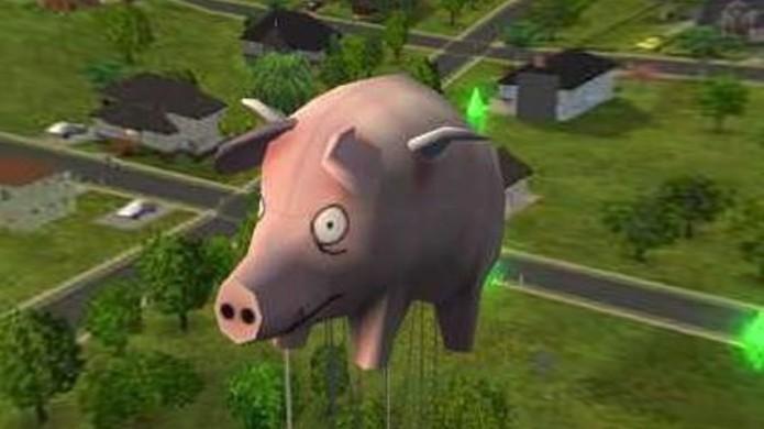 O porco voador em The Sims 2 aparentemente é uma referência à banda Pink Floyd (Foto: Reprodução/The Sims Forum)