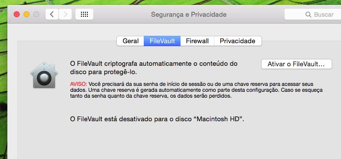 Clicando na opção Ativar o FileVault... (Foto: Reprodução/Edivaldo Brito)