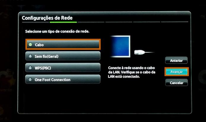 Selecione a configuração de rede com cabo e continue o procedimento (Foto: Reprodução/Barbara Mannara)