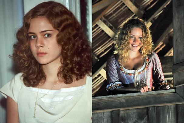 Leandra Leal em O Cravo e a Rosa (2000) e em Decamerão (2009) (Foto: Globo)