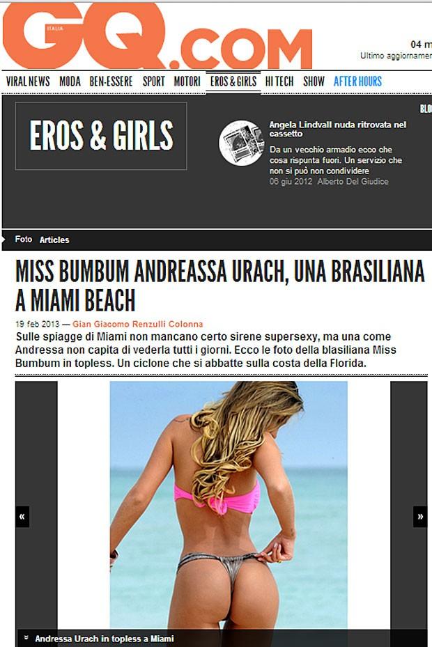 Andressa Urach é destaque em site de revista italiana (Foto: Reprodução)