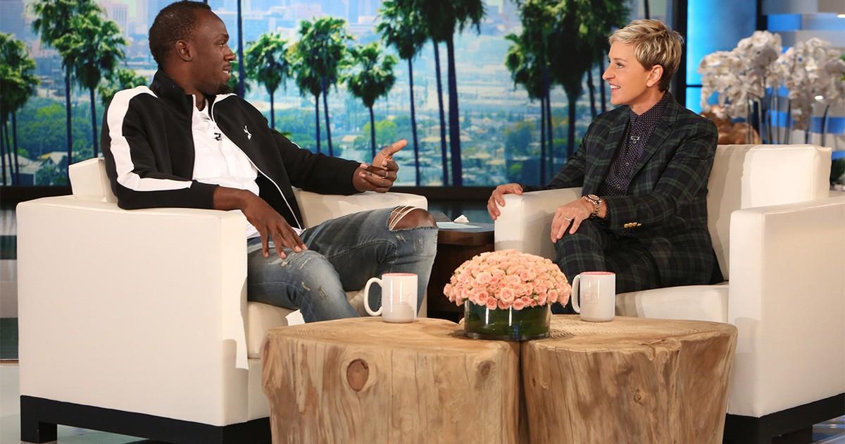 Usain Bolt e Ellen DeGeneres (Foto: Reprodução)